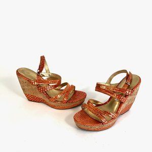 Isola Orange Leather Platform Wedge Sandals 10